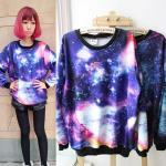Chic Women's Girls Galaxy Space Starry Printing long Sleeve Top Stylish T Shirt Jumper