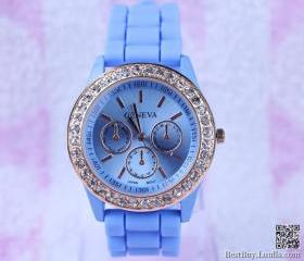 Women Wristwatch blue Luxury Crystal Watches 5colors