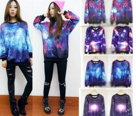 Chic Women's Galaxy Space Starry Printing long Sleeve Top Round T Shirt Jumper
