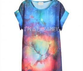Chic Galaxy I am a dreamer Chiffon T-shirt starry short-sleeved