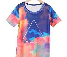 Gradient Sky Geometric Galaxy starry Digital Print Slim Tshirt