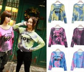 Chic Galaxy BOY letter Starry Printing Hollow bat long sleeve sweater