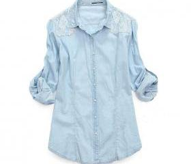 Light Blue Denim Lace Shirt long-sleeved Shirts
