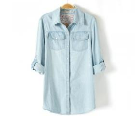 Light Blue Denim Shirt lapel Pockets blouse