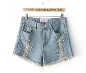 Studs Rivet Denim Wash Short Punk Shorts