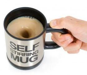 Geek Bluw Coffee Plain Lazy Self Stirring Mug - Make Tea Not War