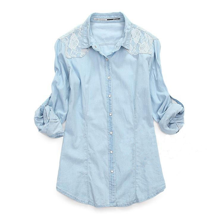 Light Blue Denim Lace Shirt Long-sleeved Shirts on Luulla